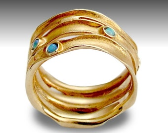 14k Rose Gold Band, Wide Wedding Ring, Engagement Band, Blue Opal Gemstones Band, Wide Gold Ring, Brushed Gold Ring - Rolling stones RG1020S