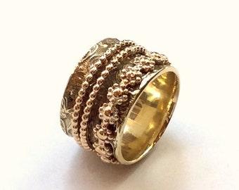 Golden brass band, ring with spinners, botanical ring, fidget spinner ring, wide band, meditation ring, filigree ring  - Loving guy RK2361