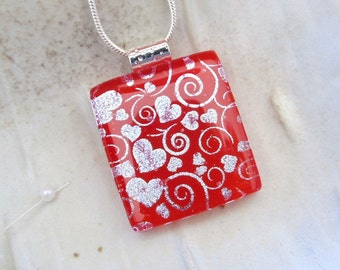 Red Necklace, Dichroic Glass Pendant, Necklace, Fused Jewelry, Silver, Hearts, Necklace Included, A6