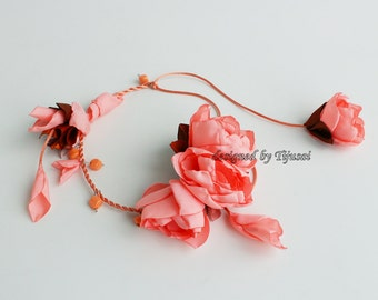 Free shipping, gift for her, Floral necklace-fiber neck piece from flowers-unique floral accessory