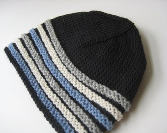 black hat with blue and gray stripes mans hat knit black cap