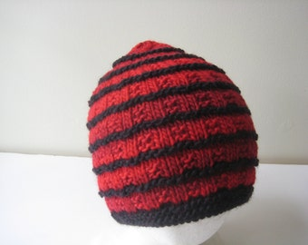 red knit hat knit cap red and black knit hat