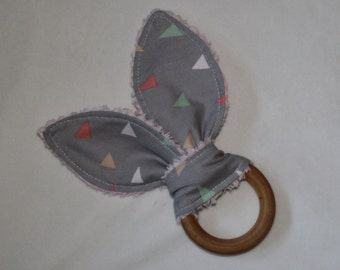 Gray and Pastel Triangles Rabbit Ears Wooden Teething Ring