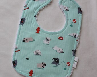 Pugs and Kisses Chenille Boutique Bib