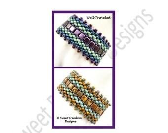 Beadweaving Tutorial Pattern Bracelet Superduo 2-hole Tiles .pdf Instructions for Personal Use Jewelry Bracelet Design