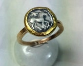 Ancient Greek Coin Statement Ring, solid  yellow gold horse coin  ring, authentic ancient silver horse coin, ancient coin jewelry