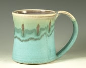 Coffee Mug Cup ,large ceramic mug with large Handle, turquoise,  wheel thown (20oz) -- Perfect Hot & Chocolate