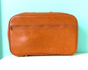 Mini Sepia Suitcase // Tiny Case // 1960's Vinyl