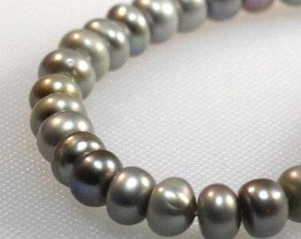 7 - 9 mm silver iris grey freshwater disk pearls