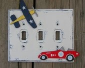 Kids Switch Plate Cover VINTAGE CAR - Hand Painted Wood RACECAR