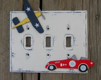 RACE CAR & AIRPLANE Kids Switch Plate Cover - Hand Painted Wood