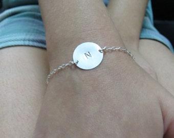 Silver initial bracelet, personalized bracelet silver, disc bracelet, initial disc bracelet