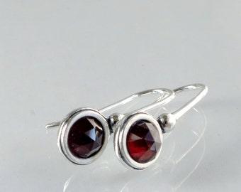 Garnet earrings, Sterling Silver, red gemstone, Birthstone jewelry
