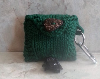 Dog Poop Bag Holder Knit Cotton Poop Bag Dispenser  Handknit Forest Green Cotton Knit Fabric Coconut Button Metal Carabiner 2 Roll Holder