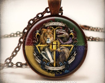 Welcome Home - Hogwarts Crest Inspired Art Pendant and Necklace-Hogwarts School of Witchcraft and Wizardry - Harry Potter