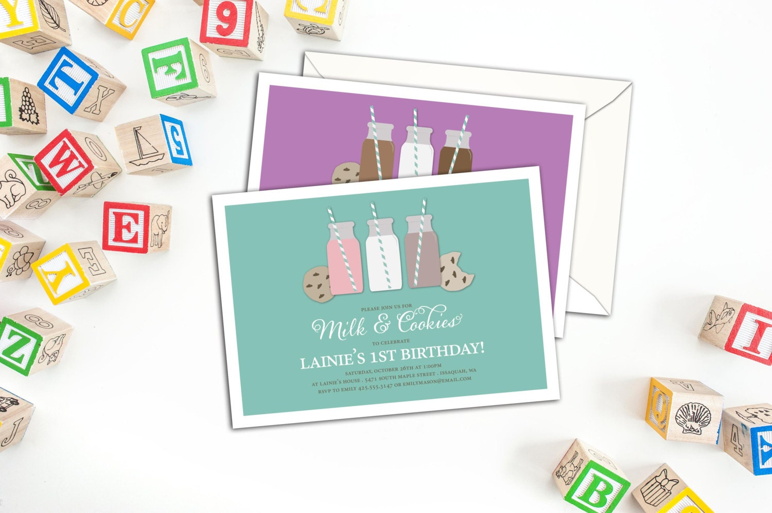 Milk and Cookies Birthday Invitation, Kid\'s Party Invitations with ...