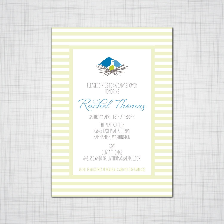 Bird\'s in a Nest Baby Shower Invitation, Baby Birth Announcement ...