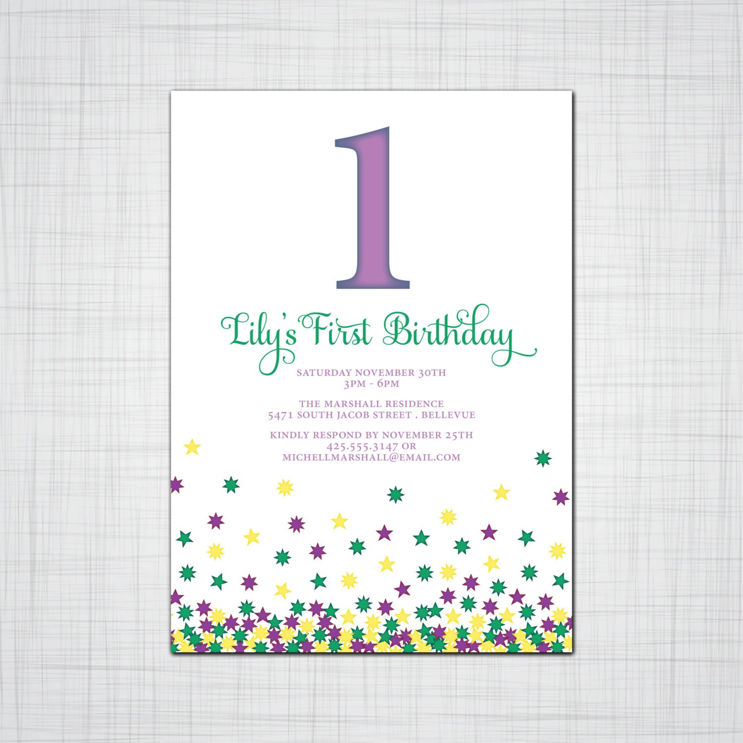 Children\'s Birthday Party Invitation with Envelopes, Falling Stars ...