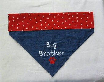 Big Brother Dog Bandana,Denim, Red with White Polka Dots,Paw Print,Embroidered, Dogs,Pet Clothing,Pet Accessories,New Baby,Baby Announcement