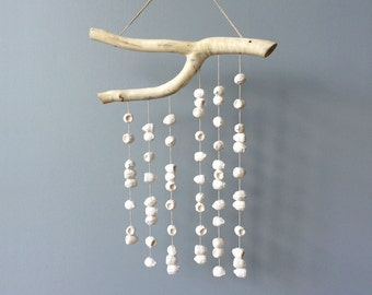 Gumnut wall hanging. A white cast plaster and forked branch mobile handmade in Australia by Kuberstore