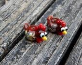 Henny Penny Chicken Pair, Lampwork Bead Pair, Simply Lampwork by Nancy Gant, SRA G55