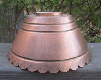 Vintage Tin Lampshade - Oil Lamp Lampshade - Copper Finish Shade