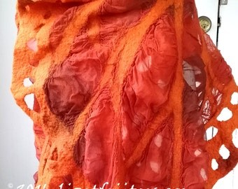 Bright Orange and Brown Nuno Felt Shawl Wrap Spring Leaves - Spring and Summer Shawl - Art to Wear - Nuno Felted Accessory