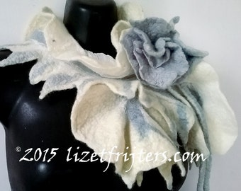 White Nuno Felted Scarflette - Neckpiece  Rose of Love Eco Fashion - Light Blue Felted Flower Closure