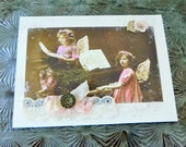 Reserved for Mary Christmas Card Vintage Pink Angel Girls at Piano~ Handmade w/Antique Button & Lace