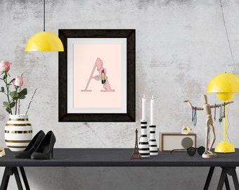 Lipsticks and Pearls Letter of your Choice Pink Poster