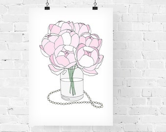 Pink Peonies Decorative Illustration Art Print