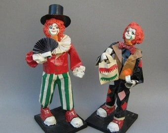 Vintage Paper Mache Clowns Mexican Folk Art Circus Figurines Happy Face Clown Sculpture