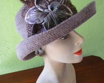 Packable Waterproof  Eric Javits Lavender Purple  Chenille  Hat Sun FeatherFlower