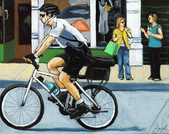 SALE! Protecting the Streets - police on bikes cityscene Original figurative oil painting