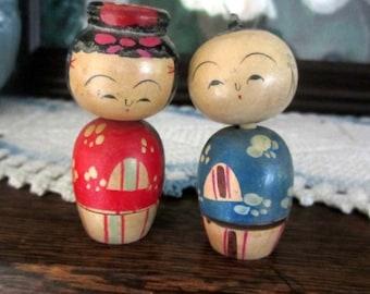 "Vintage 1950s Japanese Kokeshi Wooden ""Nesting"" Nodder Doll Set of Two w/Two Tiny Nodder Dolls"