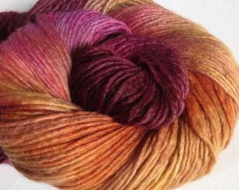 Hand dyed merino tussah silk dk  3.5 ozs 100 g 210 yards