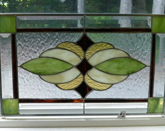 Earthy Stained Glass & Beveled Window PANEL#2-Handmade by me!