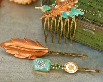 Fall bobby pin hair piece set/ leaf hair comb /hair clip / hair accessories. Tiedupmemories