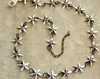 choker necklace /star choker /star necklace / silver star necklace/ short necklace. Tiedupmemories