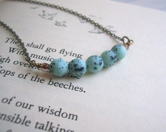 Blue Speckled Eggs pastel beaded row - glass beads on brass - spring time jewellery - easter gift