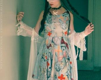 Gloomth Doll Hospital Medical Theme Skater Dress Sizes XS to 5XL
