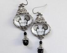 Conjoined Twins Earrings - Gothic Earrings - Skeleton Earrings - Siamese Twin Earrings - Silver black Gothic Jewelry - Skull Earrings - Dark