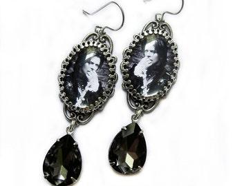David Bowie Earrings, Glam Earrings, Glam Rock, Gothic Jewelry, Black Diamond Earrings, Filigree Earring, Rock and Roll Jewelry, unique gift
