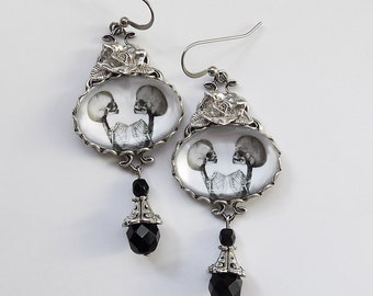 Conjoined Twins Earrings, Gothic Earrings, Skeleton Earrings, Siamese Twin Earrings, Silver  Gothic Jewelry, Skull Earrings, Dark jewelry