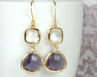 Purple and Crystal Gold Framed Dangle Earrings, Gold Earrings, Purple Gold Earrings, Long Gold Earrings [#893]