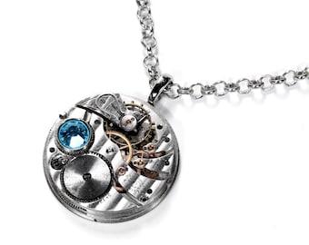Steampunk Jewelry Necklace ILLINOIS Pinstripe Pendant Pocket Watch Aqua SWAROVSKI Crystal Mens Necklace Mothers Day - Jewelry by edmdesigns