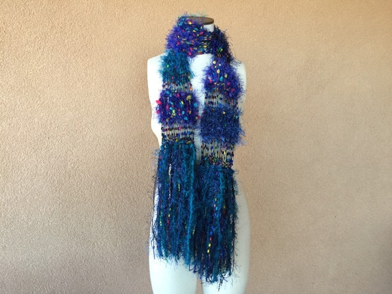 Royal Blue, Midnight Blue, Teal Scarf Hand Knit Scarf with Yellow, Dark Pink Rainbow Confetti