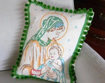 Vintage Cushion Cover Virgin Mary Irish Linen Handmade