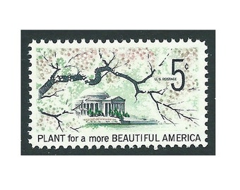 Pack of 10 stamps .. 5c Beautification of America .. Vintage Unused US Postage Stamps .. Washington DC, Cherry Blossoms, Springtime in Bloom