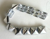 Labrador Pyramid 12mm - 2 hole Czech Beads - 1 strand, 12 beads